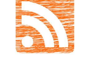 RSS Logo vor schraffiertem orange-farbigem Hintergrund