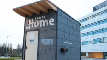 Micro-Home-Wohnkonzept mit der Aufschrift libertydothome.
