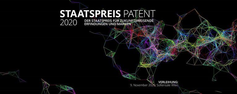buntes geflecht mit der Überschrift Staatspreis Patent 2020