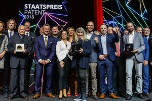 Awardees of the National Award for Patents with Federal Minister Norbert Hofer, President of the Austrian Patent Office, Mariana Karepova and the Jury. Photo credit: Christian Husar