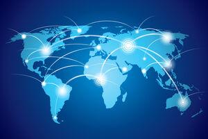 Weltkarte mit Leuchtspuren zu vereinzelten Leuchtpunkten