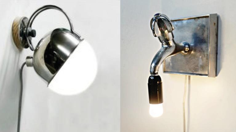 Lampen aus einem recyceltem Wasserhahn und einer Teekanne