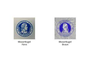 Abbildung der Verpackungen der Mozartkugel Fürst und der Mozartkugel Braun
