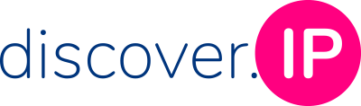 Logo discover.IP: discover, als blaue schrift, daneben ip in großbuchstaben in einem pinken Kreis
