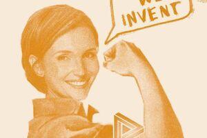 Frau zeigt wie stark sie ist mit angespanntem Bizeps und Sprechblase, in der steht: We invent.